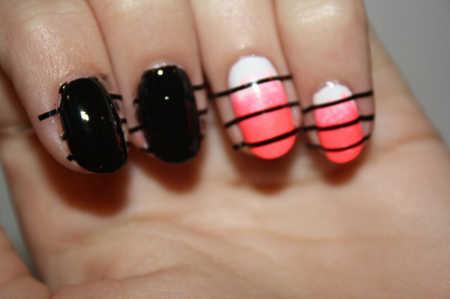 Primero, pinta tus uñas de un color. Luego, aplica tiras de cinta ...