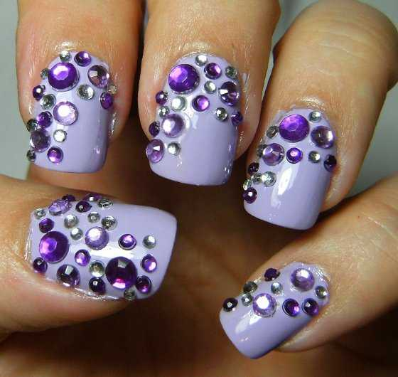 Purple Acrylic Nail Designs with Rhinestones